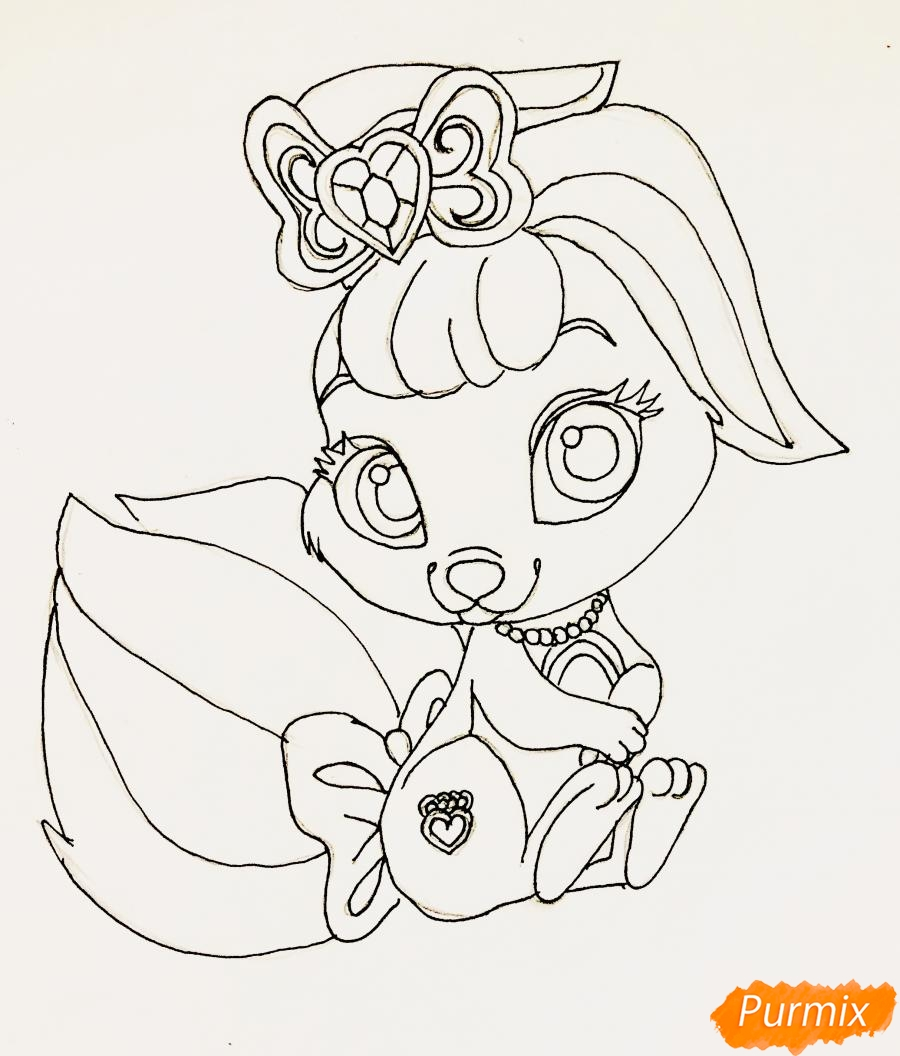 Рисуем кролика Ягодку питомца Белоснежки из мультфильма Palace Pets - фото 7