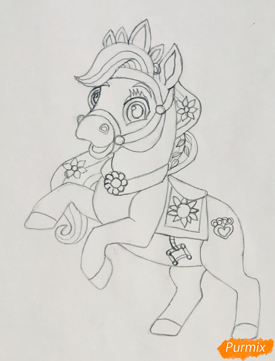 Рисуем лошадку Блонди питомца Рапунцель из мультфильма Palace Pets - фото 5