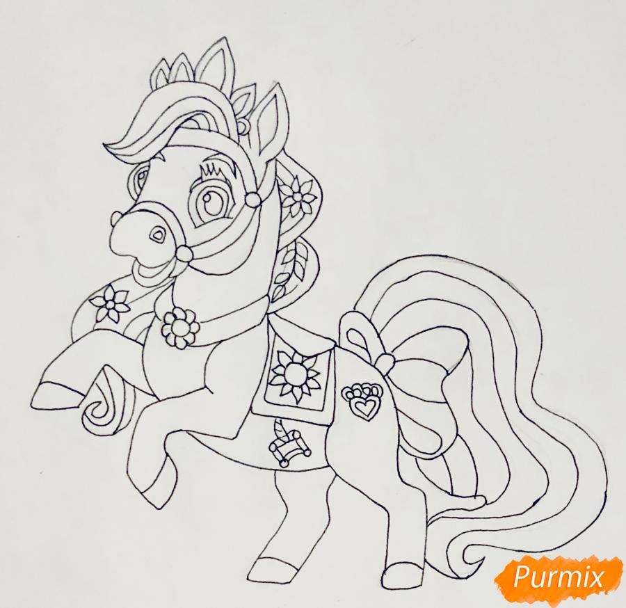Рисуем лошадку Блонди питомца Рапунцель из мультфильма Palace Pets - фото 7