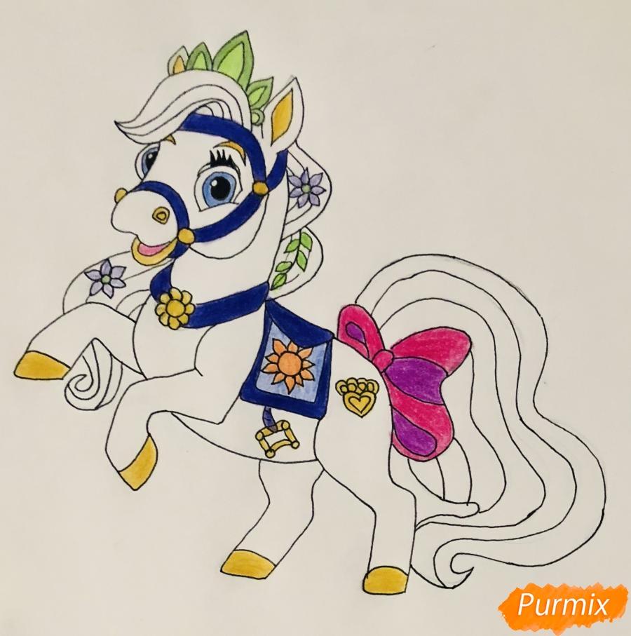 Рисуем лошадку Блонди питомца Рапунцель из мультфильма Palace Pets - фото 9