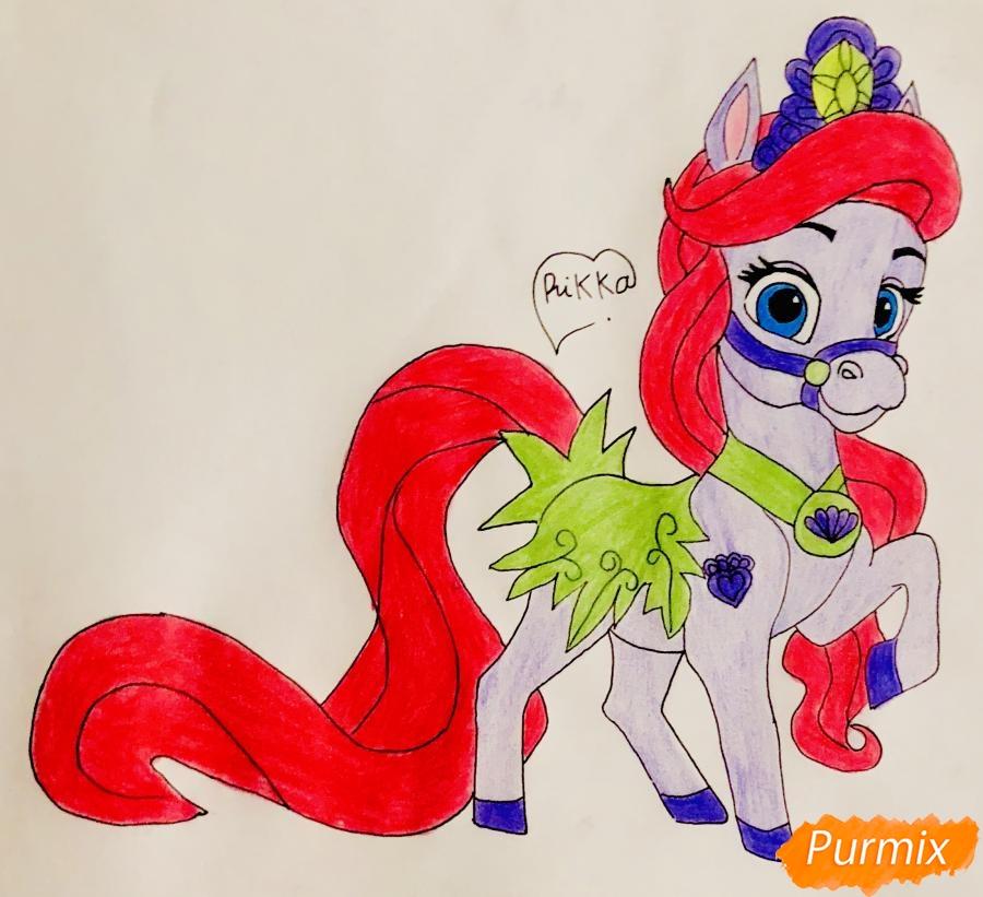 Как нарисовать лошадку Капельку питомца Ариэль из мультфильма Palace Pets поэтапно