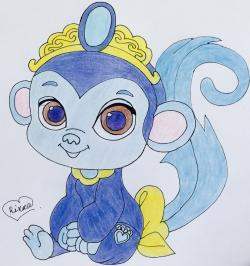 обезьянку Найл питомца Жасмин из Palace Pets карандашом