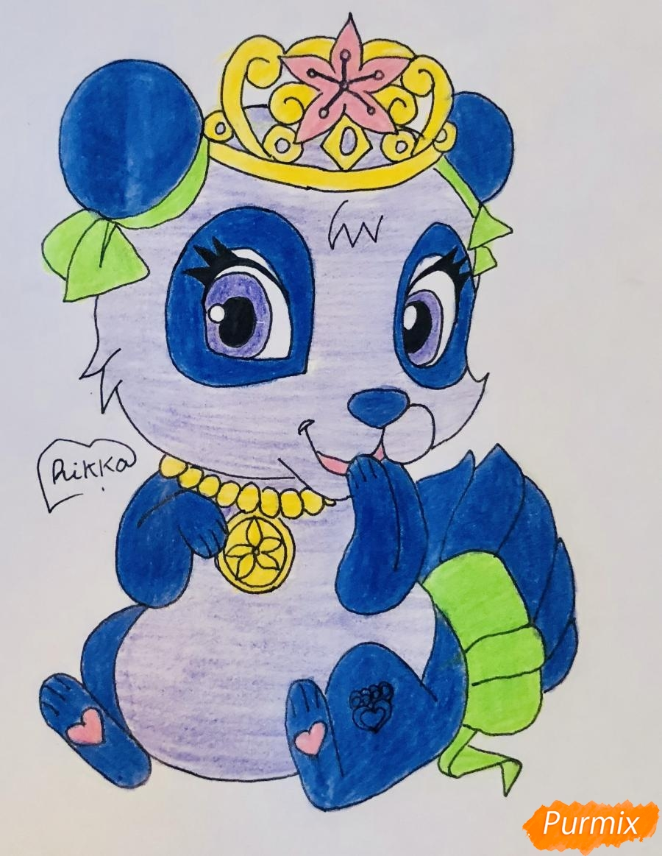 Как нарисовать панду Блоссом питомца Мулан из мультфильма Palace Pets поэтапно