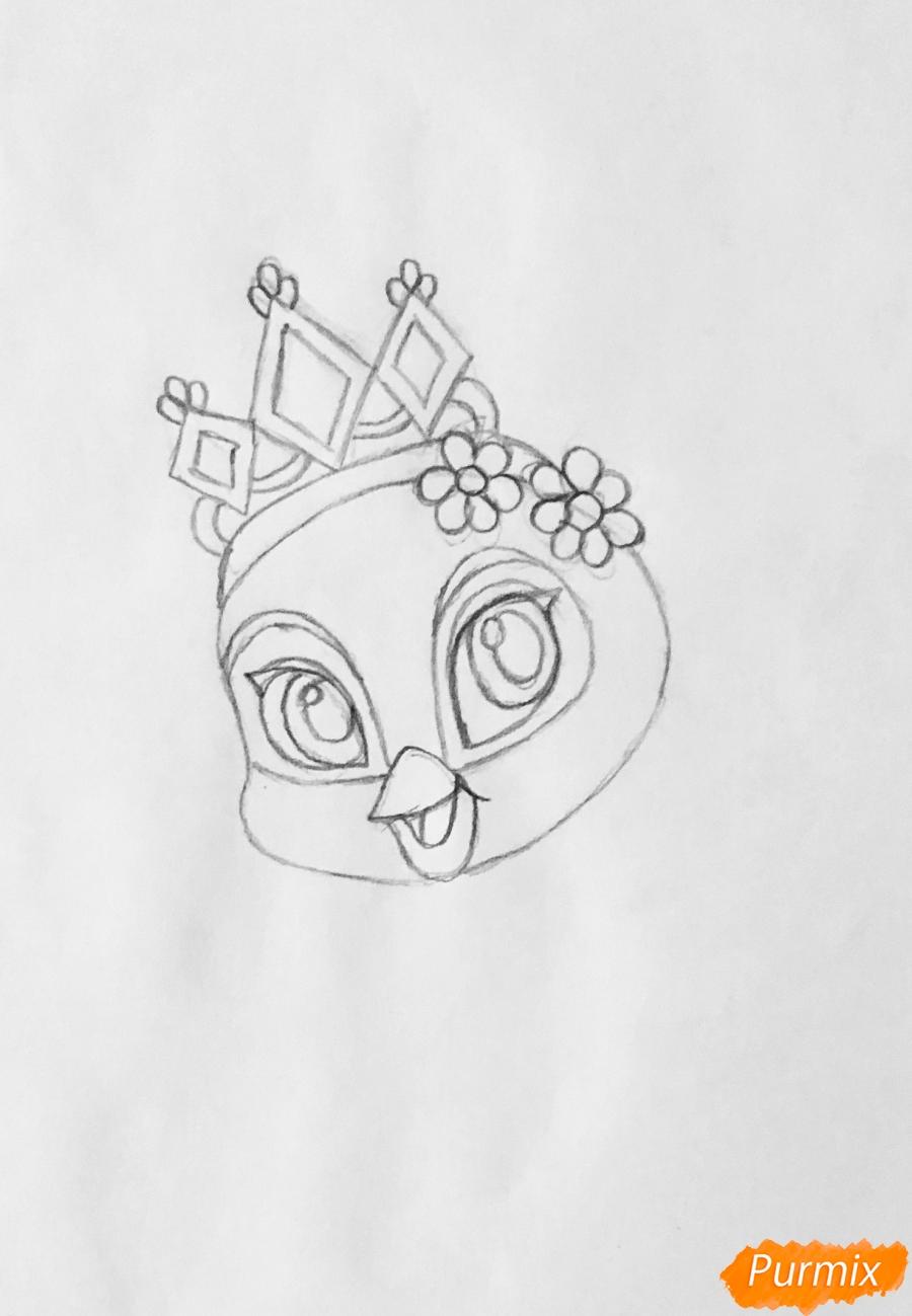 Рисуем павлина Светика питомца Рапунцель из мультфильмa Palace Pets - шаг 3