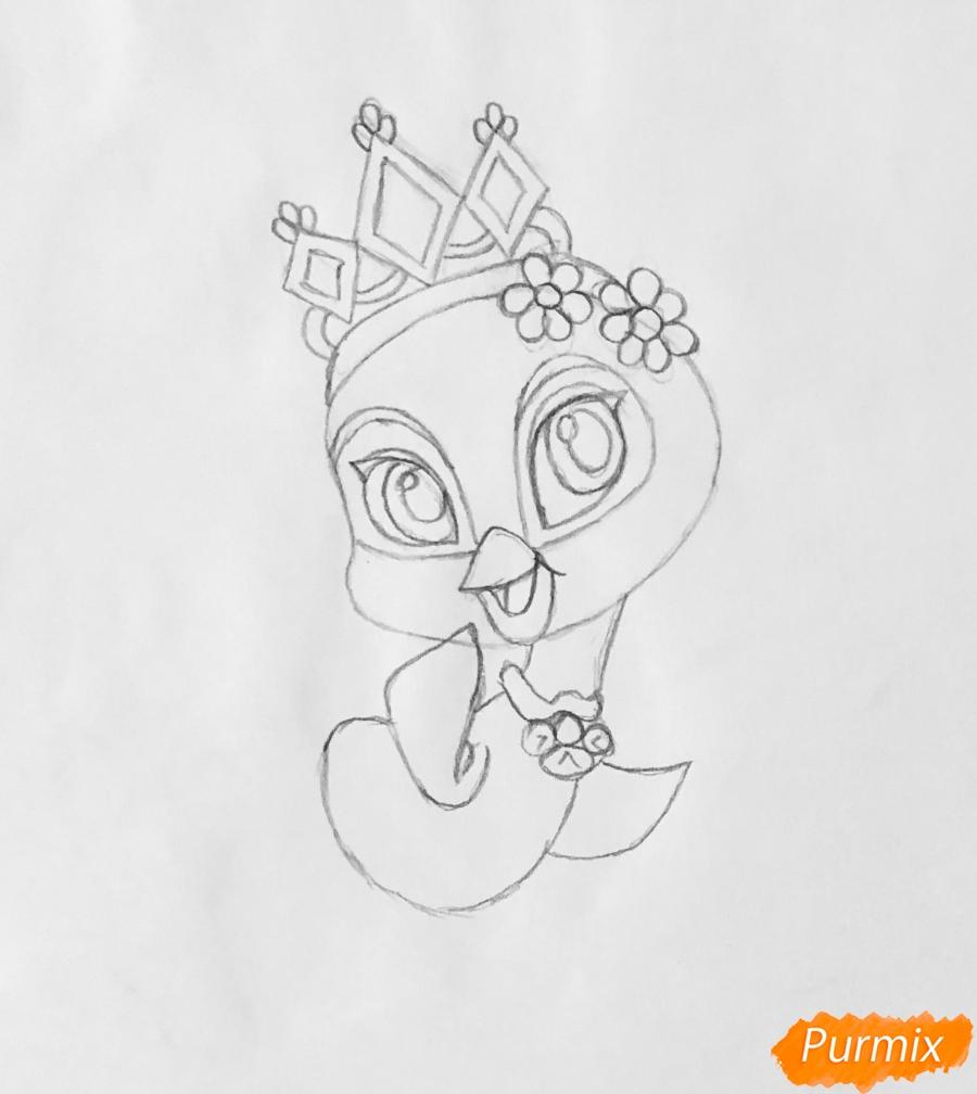 Рисуем павлина Светика питомца Рапунцель из мультфильмa Palace Pets - шаг 4