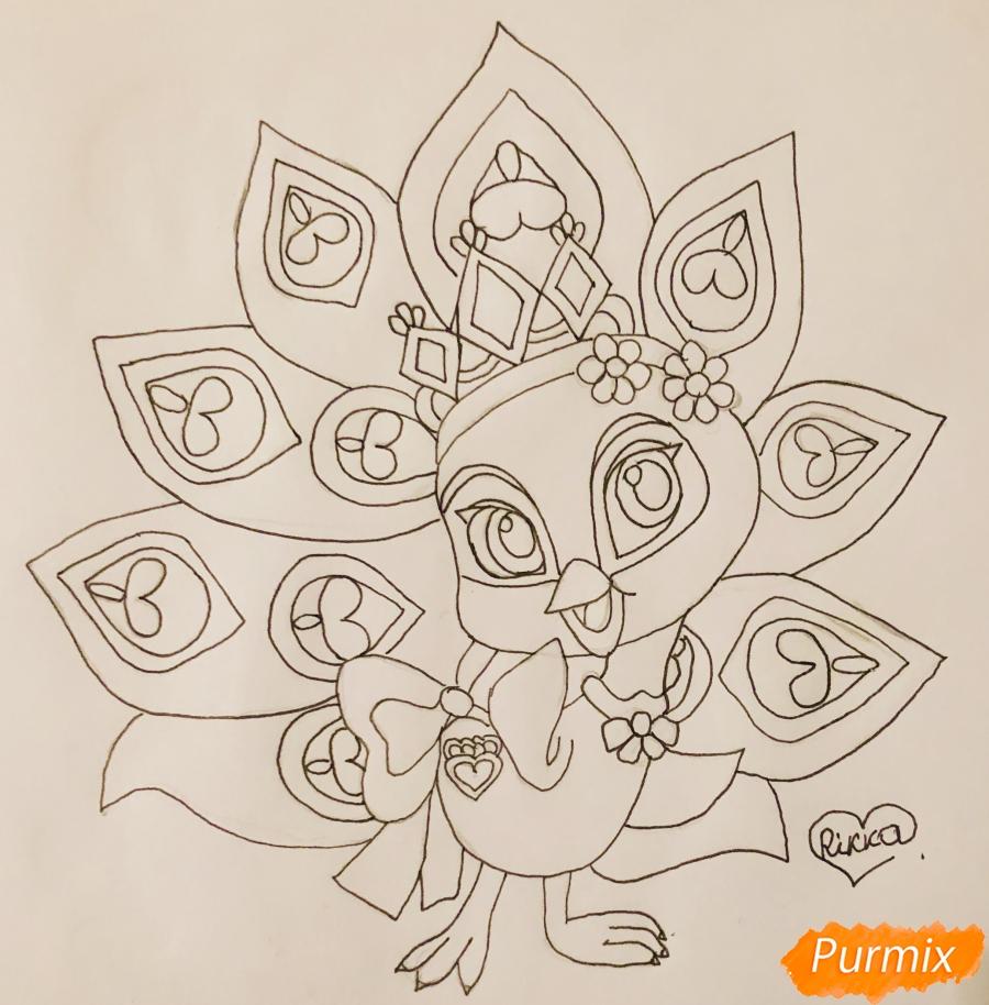Рисуем павлина Светика питомца Рапунцель из мультфильмa Palace Pets - шаг 8