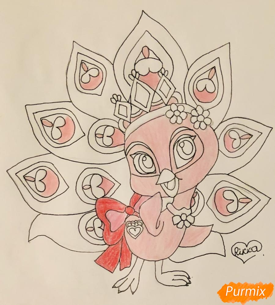 Рисуем павлина Светика питомца Рапунцель из мультфильмa Palace Pets - шаг 9