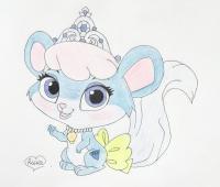 питомца Золушки мышку Бри из Palace Pets карандашом
