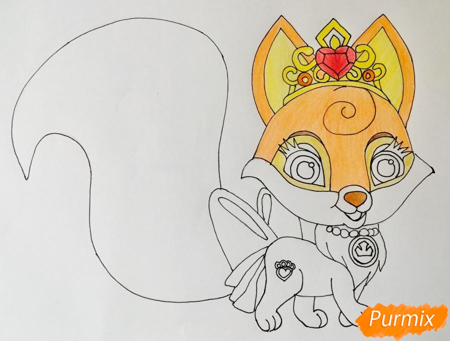 Рисуем лисичку Вострушка питомца Авроры из мультфильма Palace Pets - фото 7