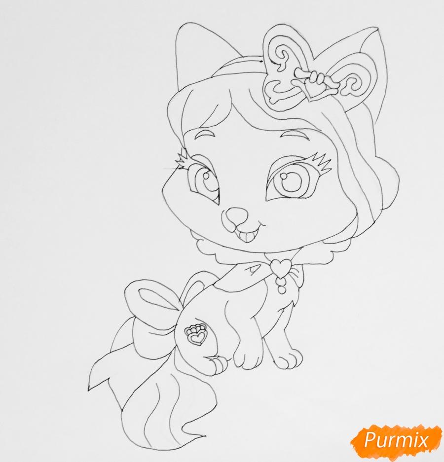 Рисуем питомца Белоснежки котёнка Пироженка из мультфильма Palace Pets - шаг 6