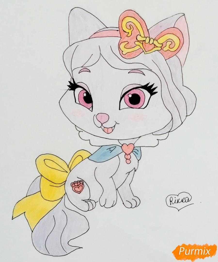 Как нарисовать питомца Белоснежки котёнка Пироженка из мультфильма Palace Pets карандашом поэтапно