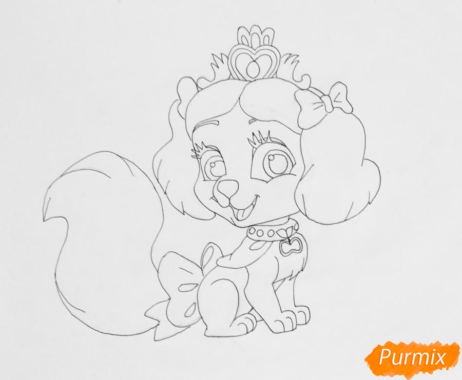 Рисуем питомца Белоснежки собачку Маффин из мультфильма Palace Pets - фото 7