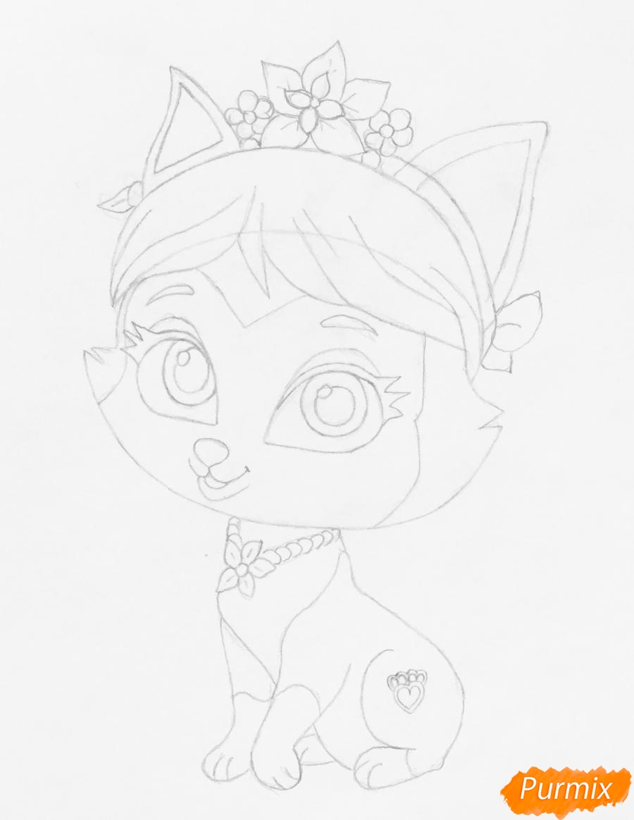 Рисуем питомца Мулан котёнка Сливку из мультфильма Palace Pets - фото 5