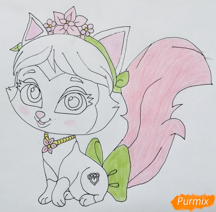 Рисуем питомца Мулан котёнка Сливку из мультфильма Palace Pets - фото 8