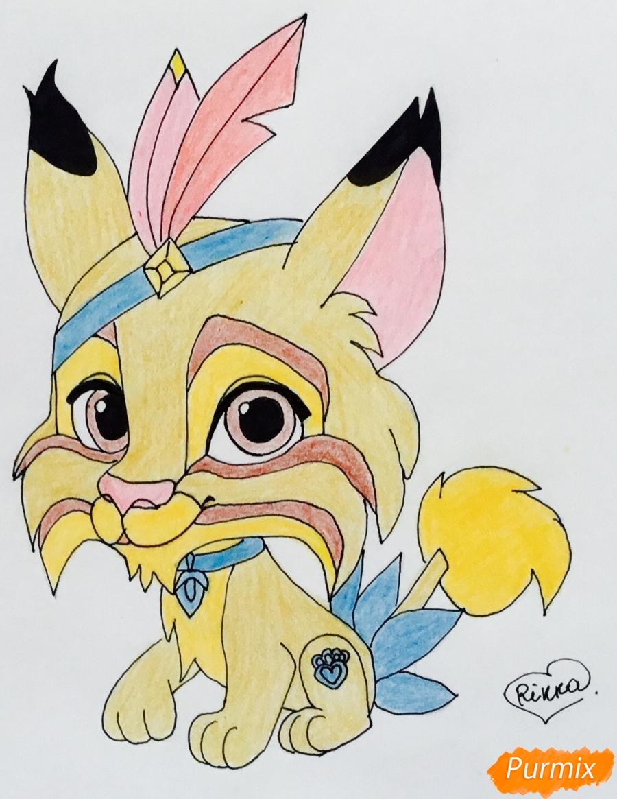Как нарисовать питомца Покахонтас рысь Пёрышко из мультфильма Palace Pets карандашом поэтапно