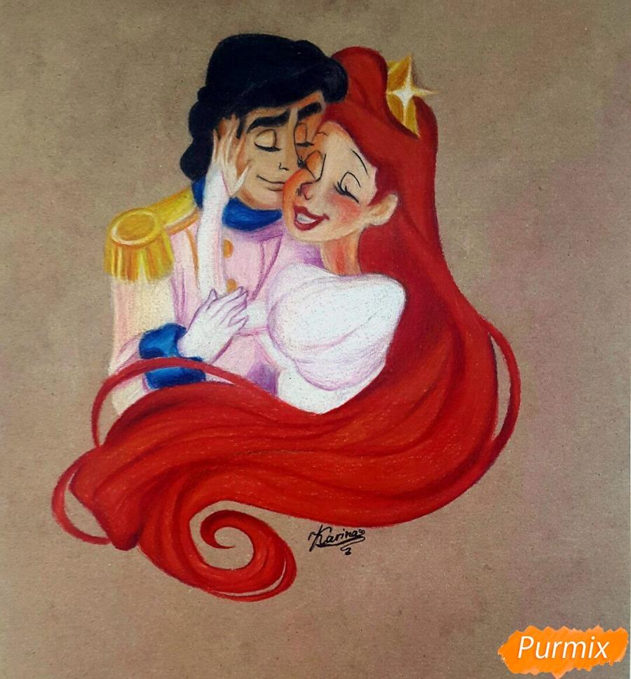 Рисуем Принца Эрика и Ариэль цветными карандашами на крафт-бумаге поэтапно