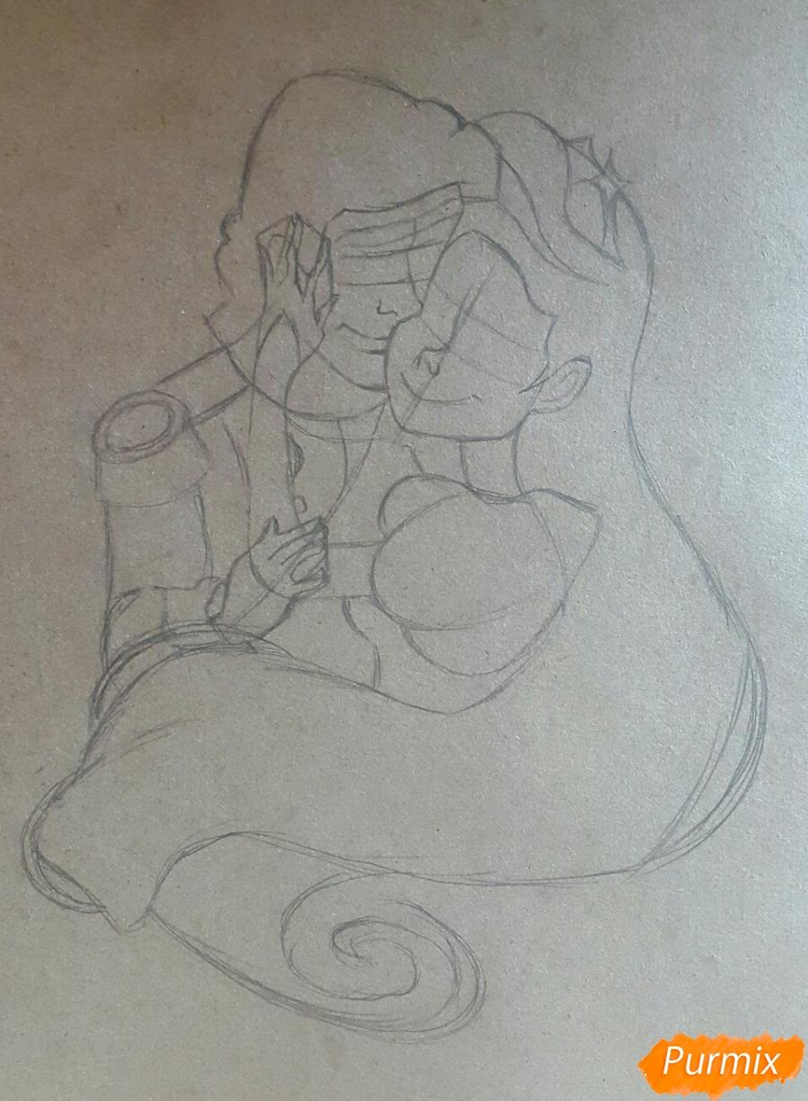 Рисуем Принца Эрика и Ариэль цветными карандашами на крафт-бумаге - шаг 2