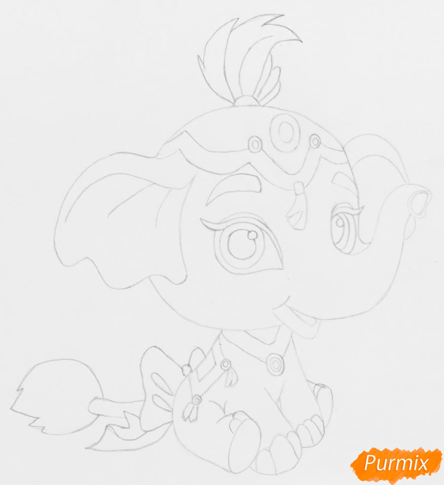 Рисуем слонёнка по имени Тай питомца Жасмин из мультфильма Palace Pets - фото 5