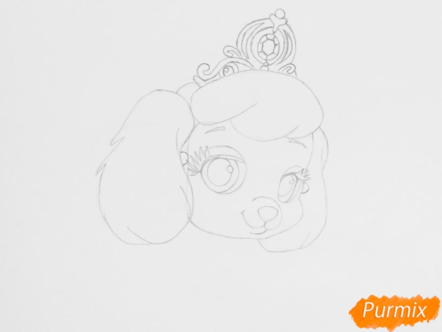 Рисуем собачку Тыковку питомца Золушки из мультфильма Palace Pets - фото 4
