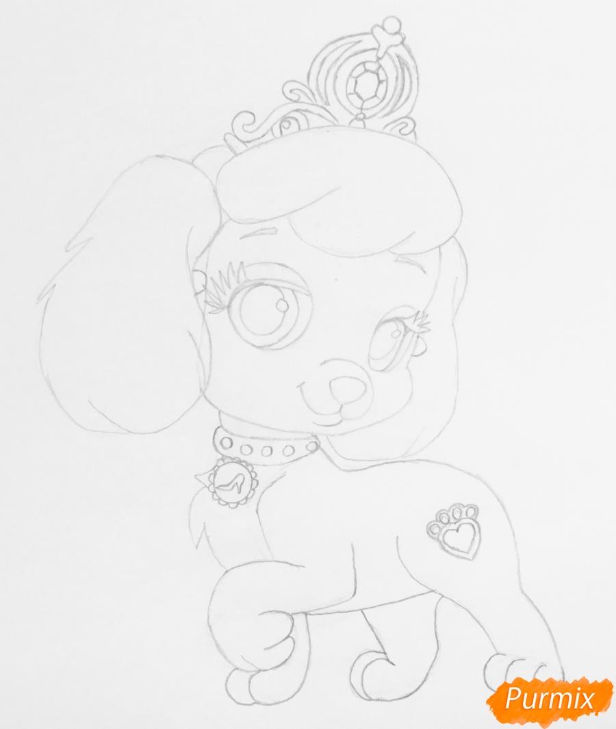 Рисуем собачку Тыковку питомца Золушки из мультфильма Palace Pets - фото 5