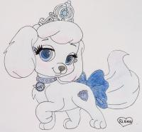 собачку Тыковку питомца Золушки из мультфильма Palace Pets карандашом
