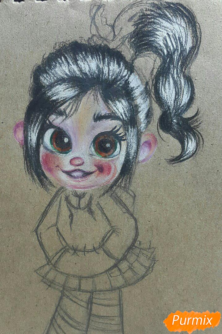 Рисуем Ванилопу из мультфильма Ральф акварельными карандаши - шаг 7