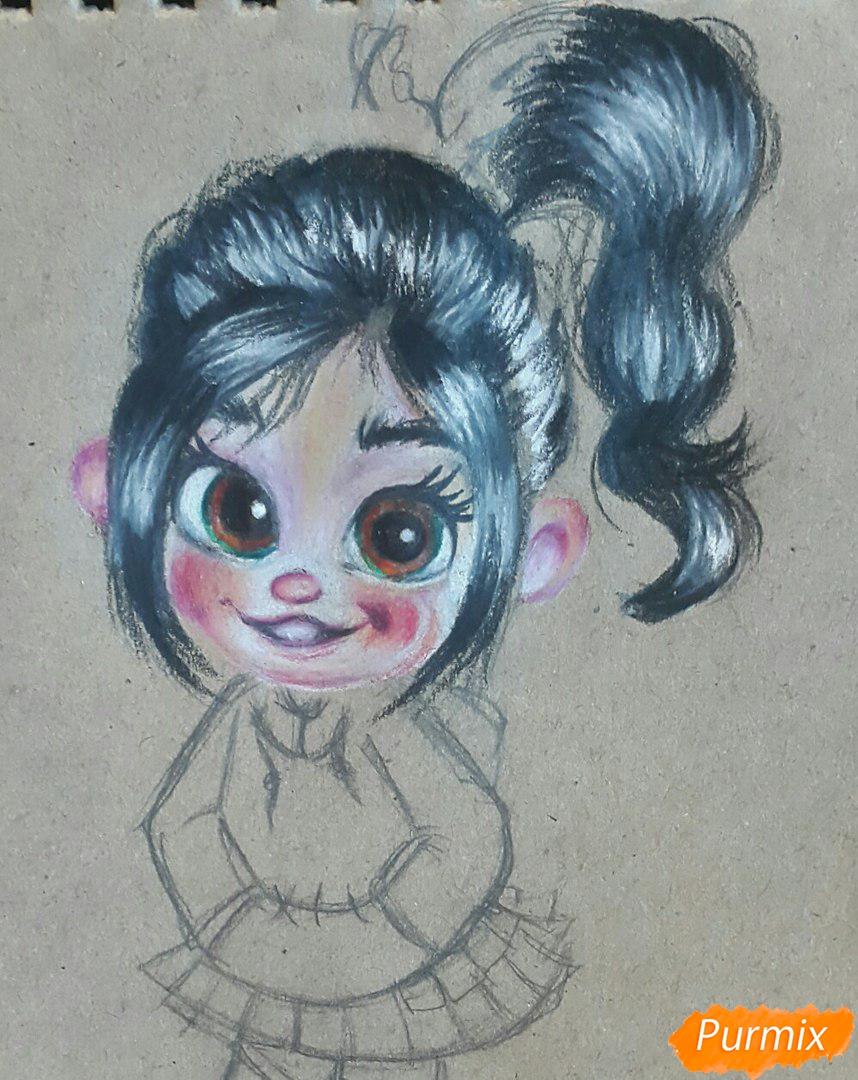 Рисуем Ванилопу из мультфильма Ральф акварельными карандаши - шаг 8