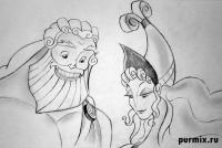 Зевса и Геру из Геркулеса карандашом