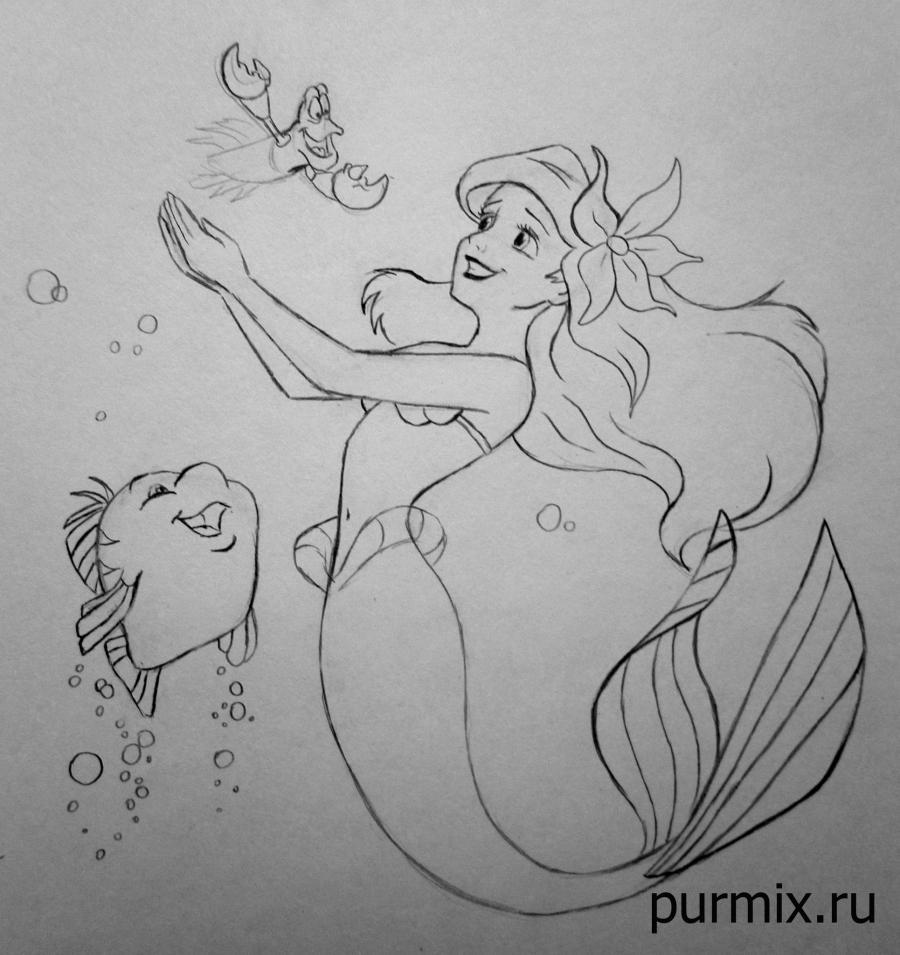 Рисуем Ариэль, Себастьяна и Флаундера - шаг 9