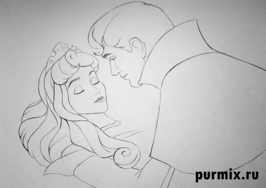 Как нарисовать Аврору и Филиппа из Спящей красавицы карандашом