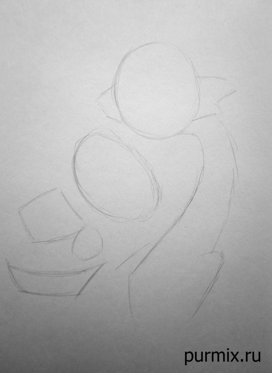Рисуем дракона Мушу и сверчка Кри-ки из Мулан