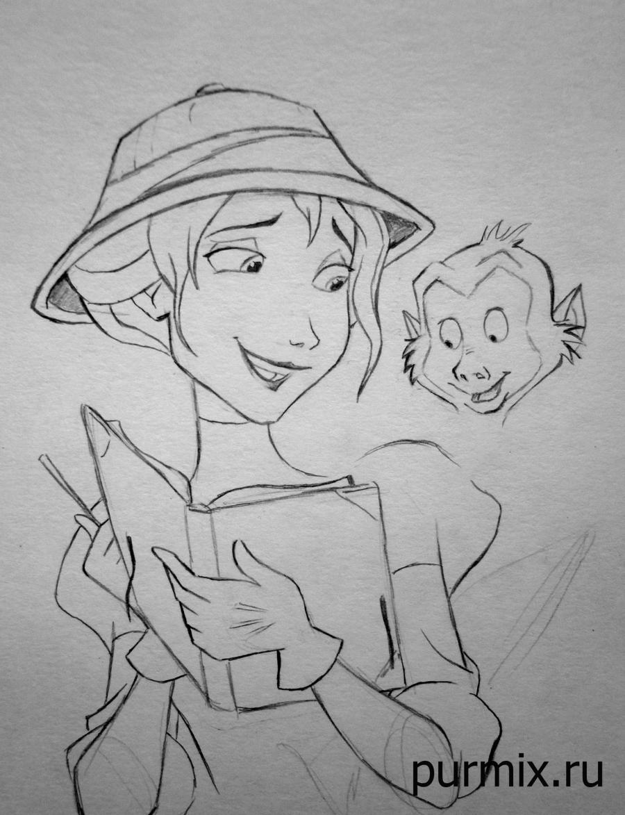 Рисуем Джейн Портер и обезьянку из Тарзана простым