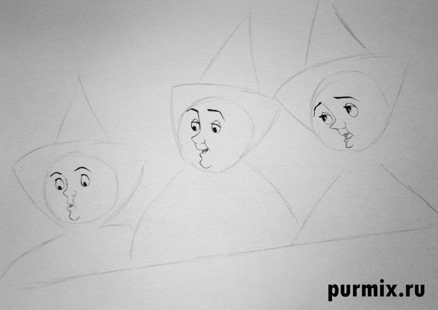 Рисуем фею Мэривезу, Флору и Фауну из Спящей красавицы