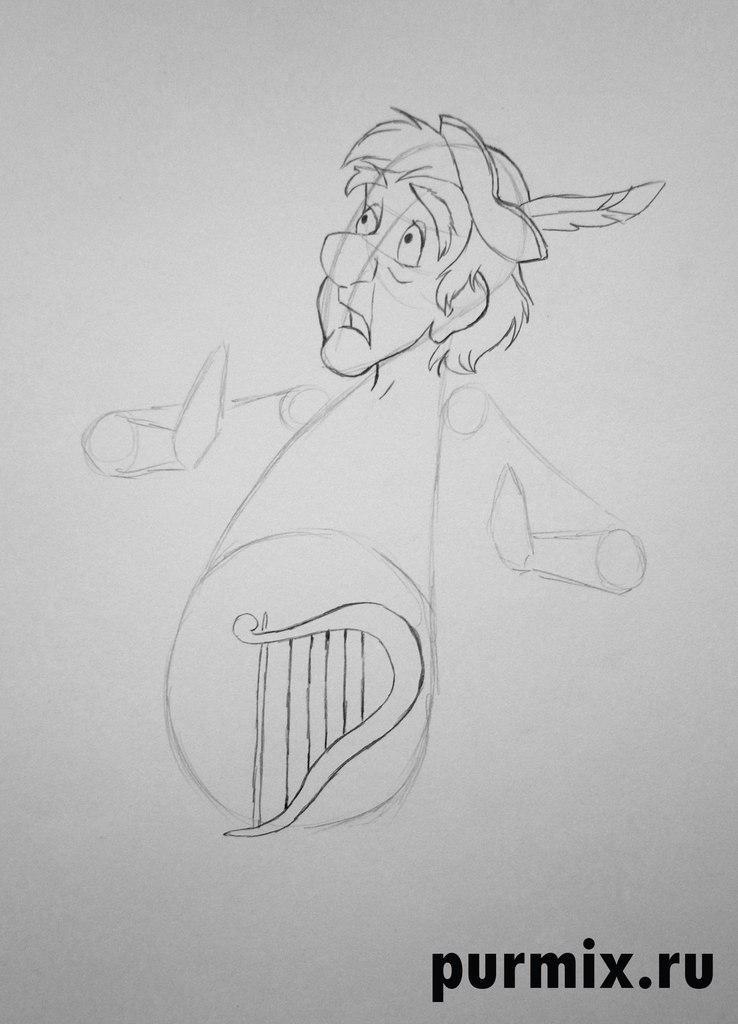 Как нарисовать Ффлуддура Ффлэма из мультфильма Черный котел