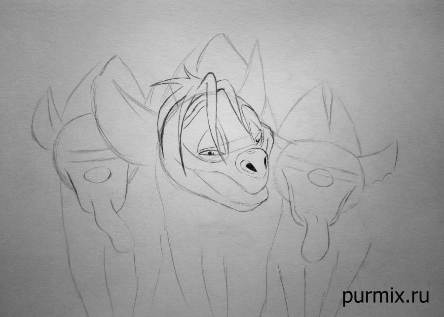 Рисуем гиен из Король лев простым