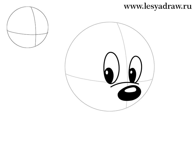 Как нарисовать голову Минни Маус карандашом поэтапно