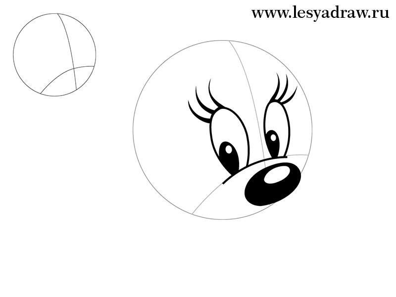Рисуем голову Минни Маус - шаг 1