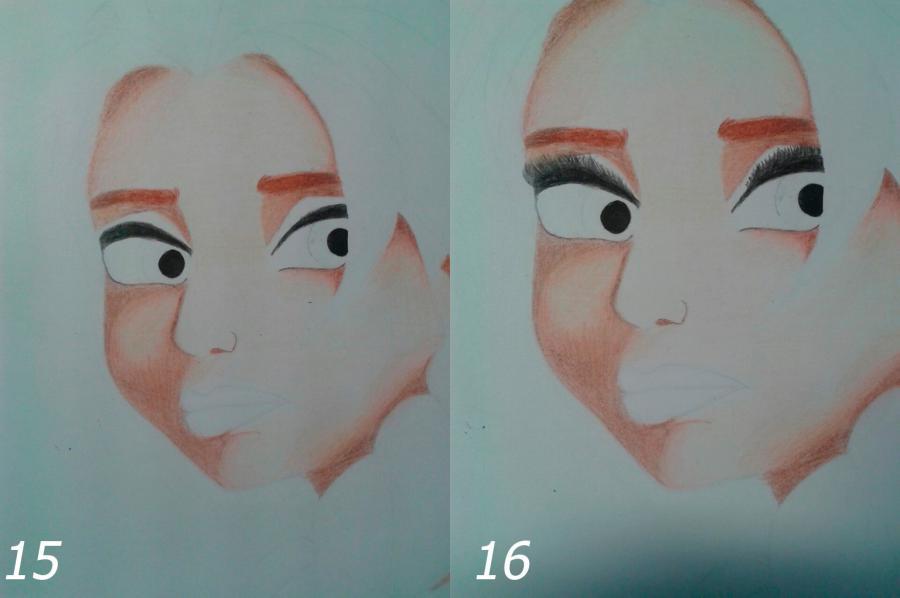 Рисуем Эльзу цветными карандашами - фото 11