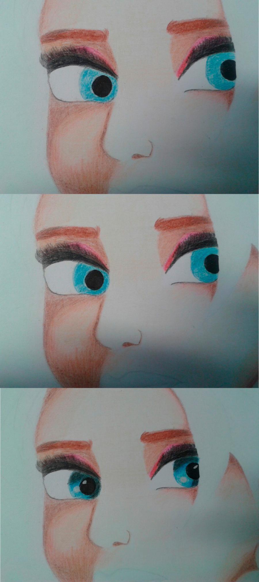 Рисуем Эльзу цветными карандашами - фото 12