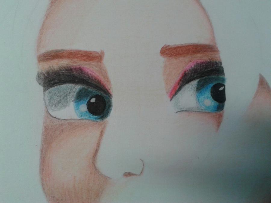 Рисуем Эльзу цветными карандашами - фото 13