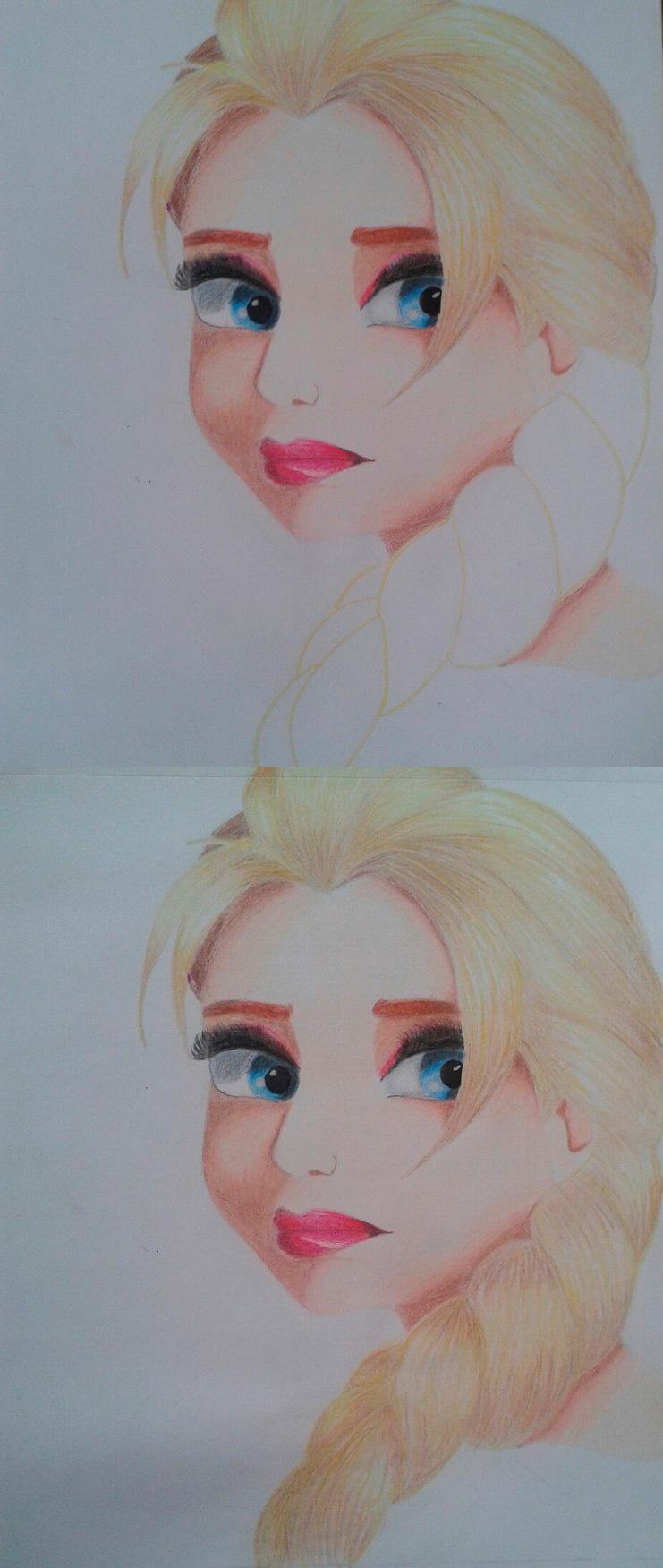 Рисуем Эльзу цветными карандашами - фото 16