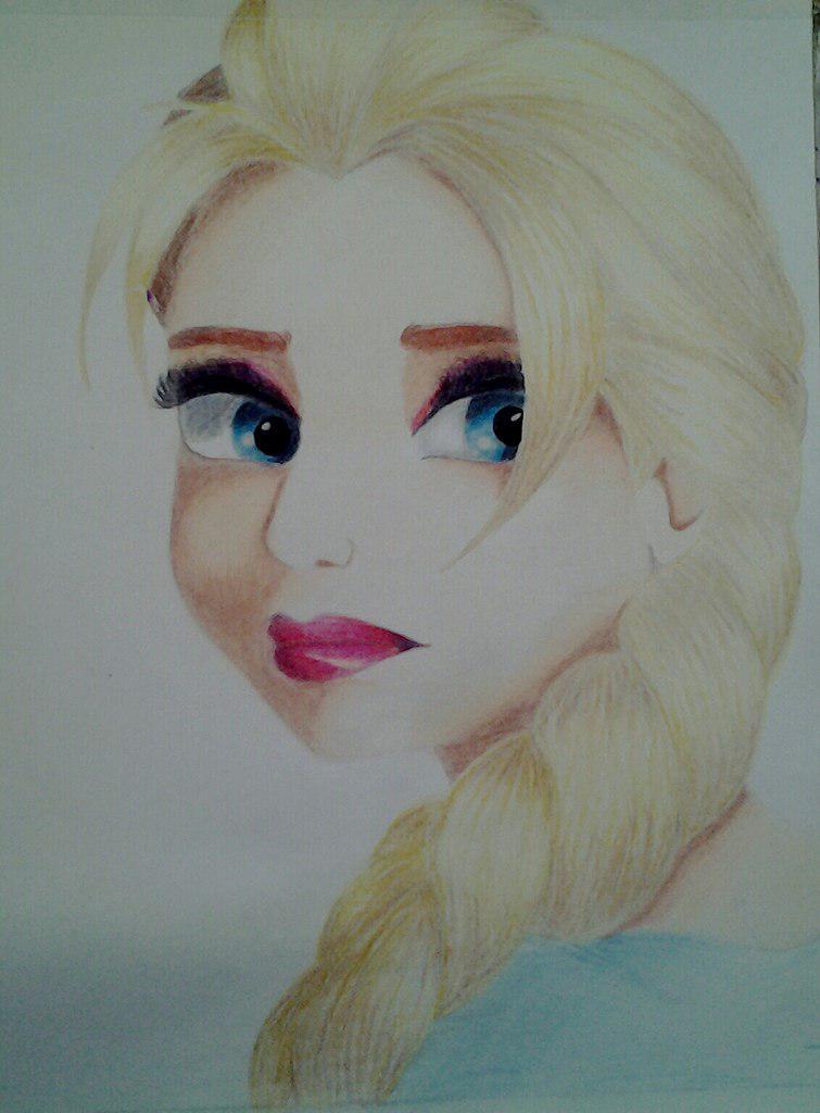 Рисуем Эльзу цветными карандашами - фото 17