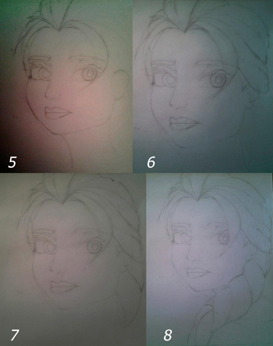 Рисуем Эльзу цветными карандашами - фото 5