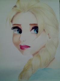 Как нарисовать Эльзу цветными карандашами поэтапно
