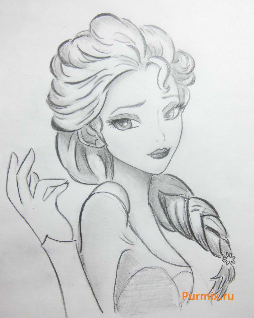 Рисуем Эльзу в стиле арт - фото 7