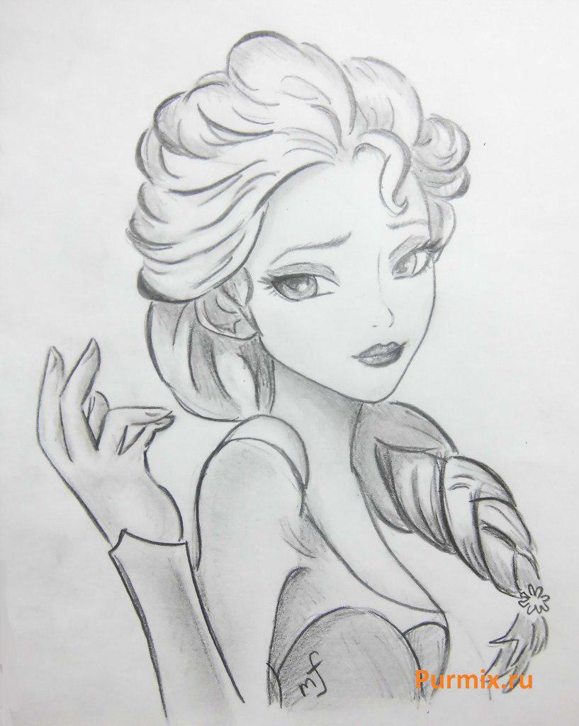 Рисуем Эльзу в стиле арт - фото 8