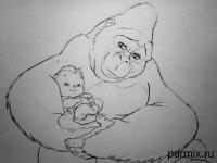 Фото Калу и маленького Тарзана карандашом
