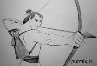 капитана Ли Шанга из Мулан простым карандашом
