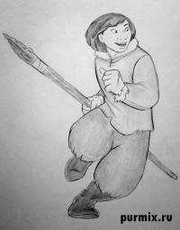Кеная человека из Братец медвежонок простым карандашом
