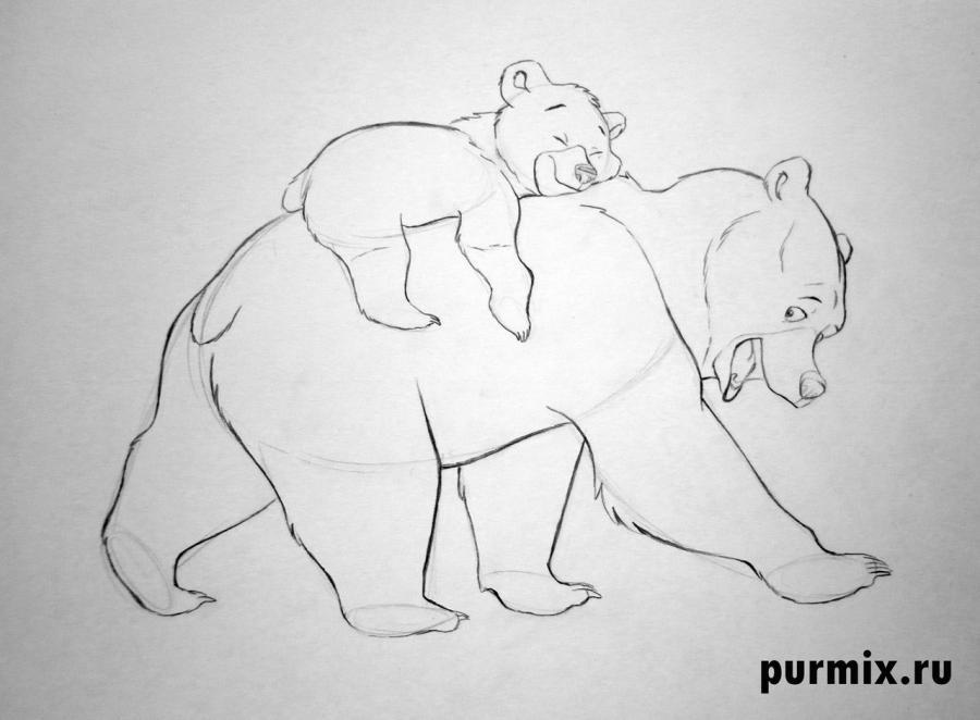 Как нарисовать Кеная и Коду из Братец медведь простым карандашом